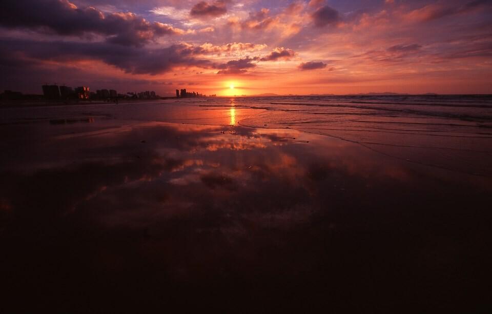烟台金沙滩落日