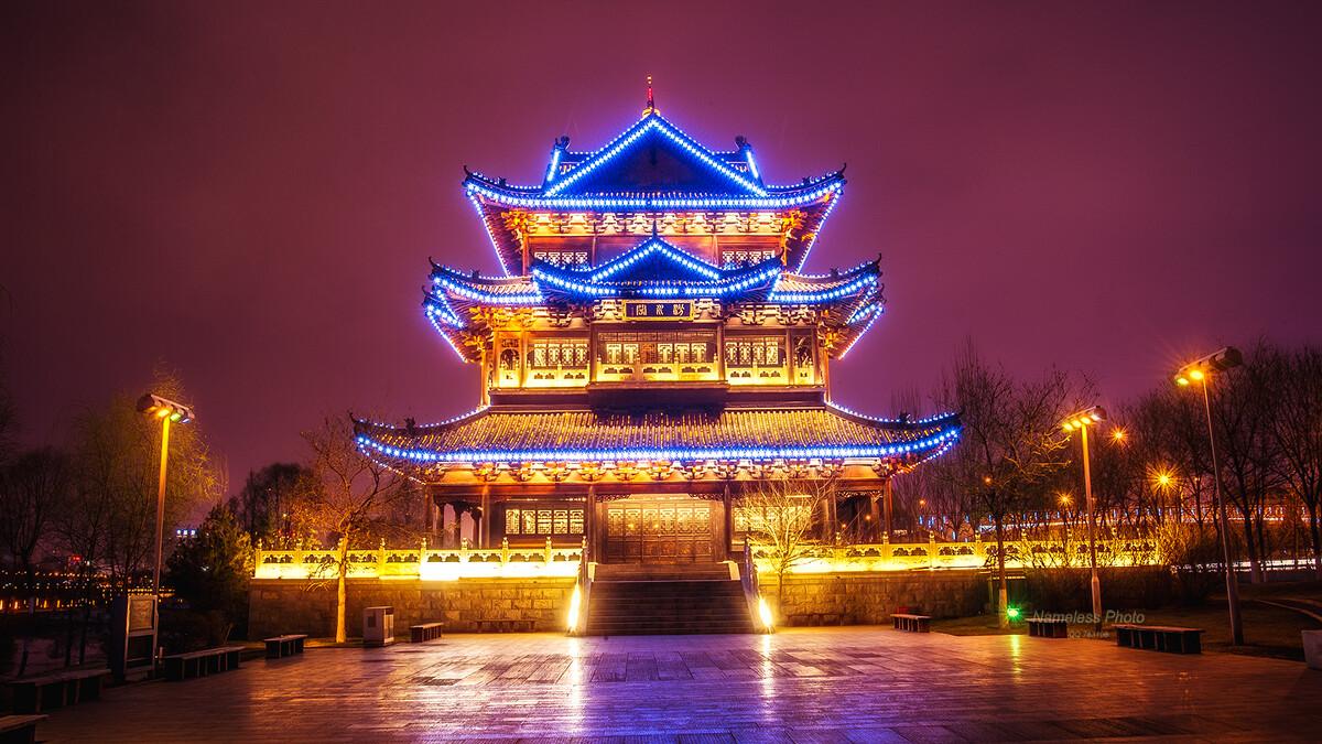 大美山西太原夜景图片