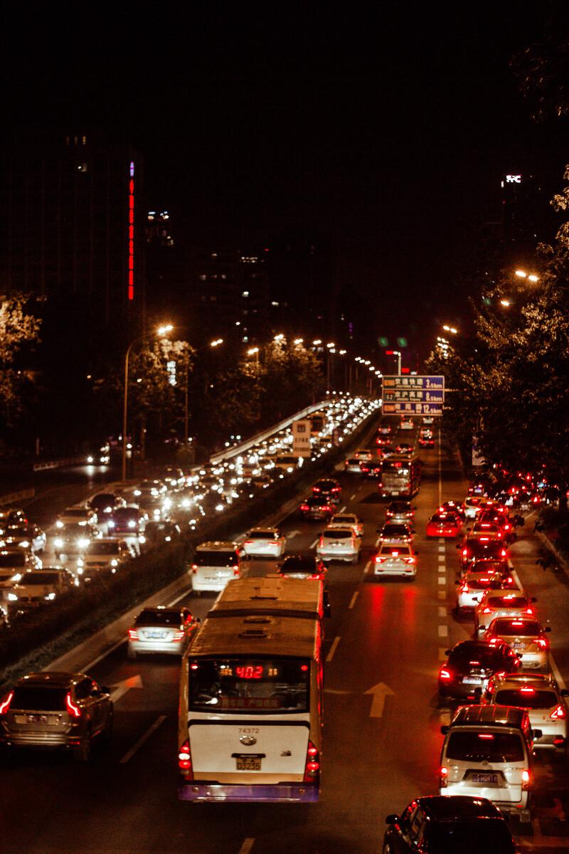 北京夜晚的马路