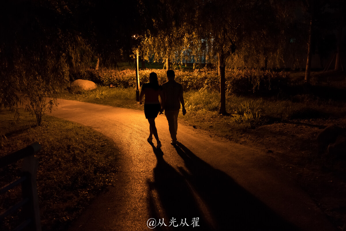 夜晚情侣牵手_夜晚,一对在公园里散步的情侣