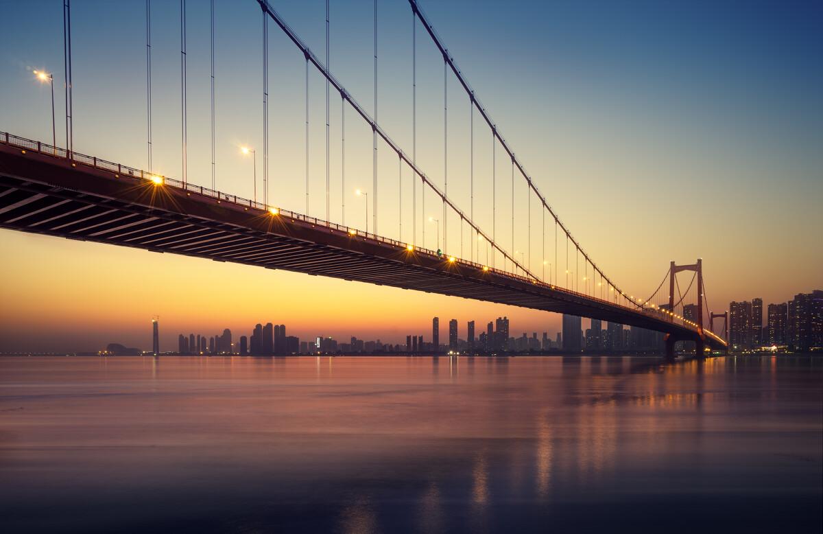风光城市夜景武汉鹦鹉洲大桥图片