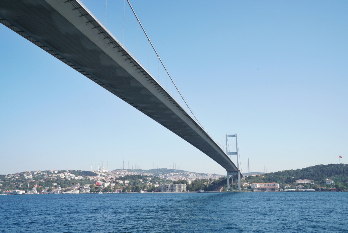 在伊斯坦布尔横跨博斯普鲁斯海峡的欧亚大桥图片
