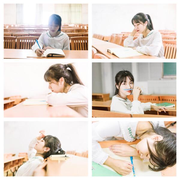 教室的座椅是经典的校园画面,写字,看书,思考,回头,休息等场景都可以
