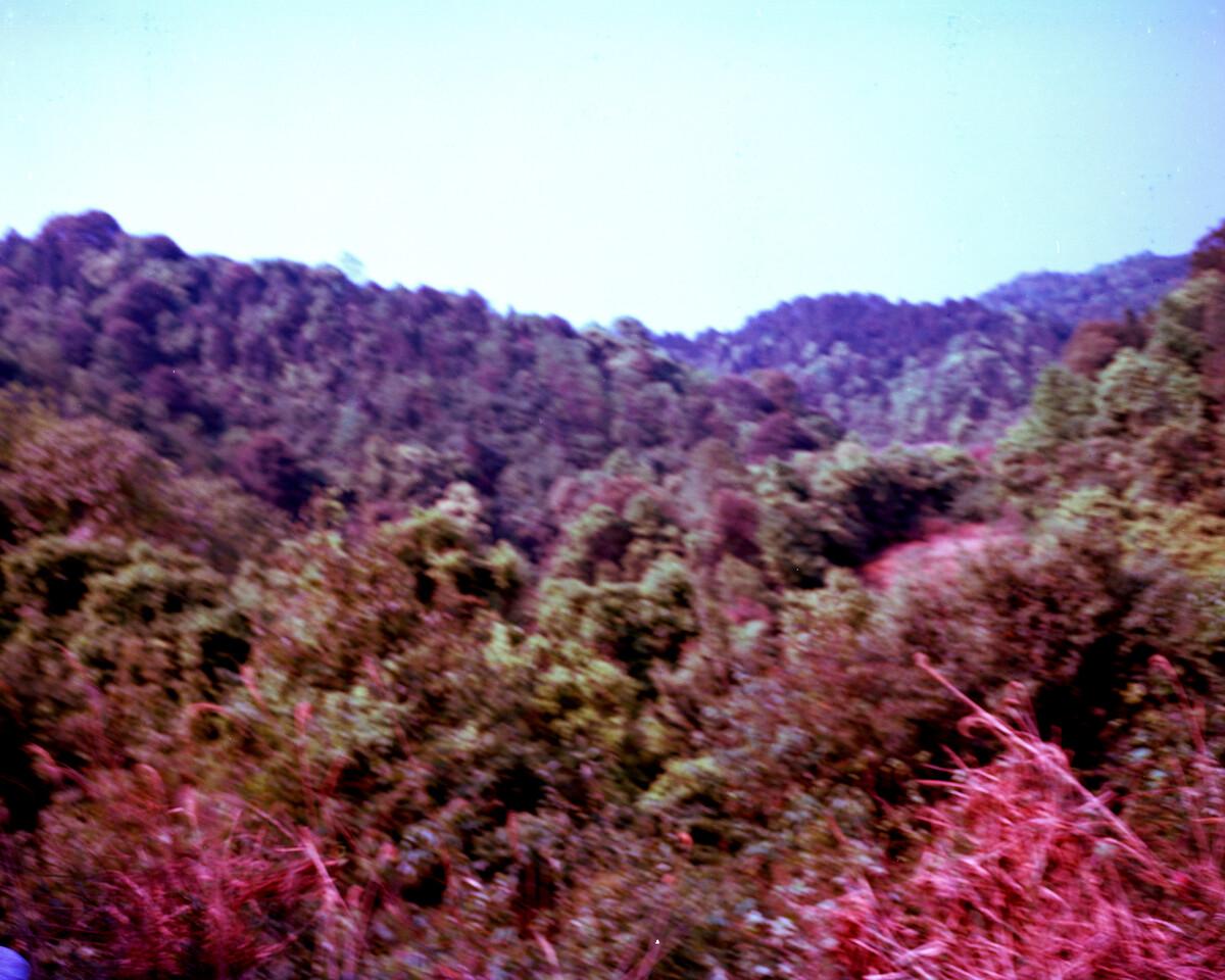 2014年,罗氏家族祖坟前的山脉。Mamiya 7II + 85/4,柯达120负片。