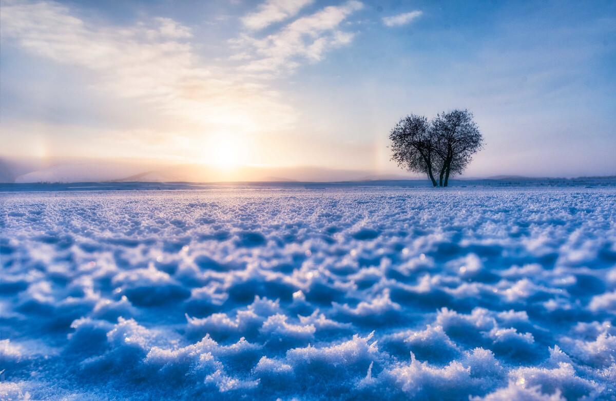 冰花,日晕与心形树图片