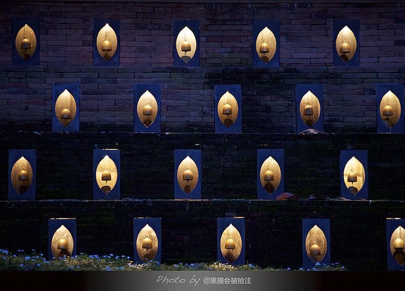 2012年9月28日 清迈 四季酒店<br /> 酒店外墙的灯亮了,照亮蓝紫色的夜,蓝紫色的花