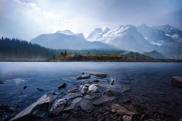 Columbia Icefield in mist