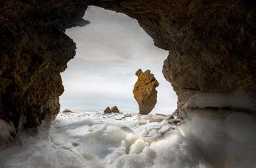 冰封岩洞枫叶石