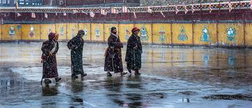亚青寺大雪中去转经的僧人们