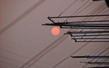晾衣架的日落