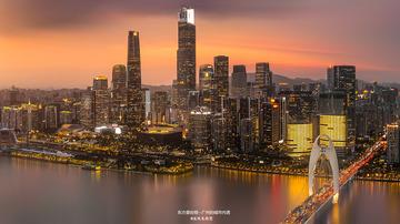 广州的城市内透夜景--东方曼哈顿
