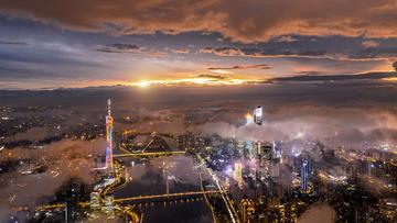 有一种无与伦比的惊艳叫上帝视角下的广州黄昏