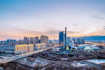 呼和浩特内蒙古电视台城市夜景