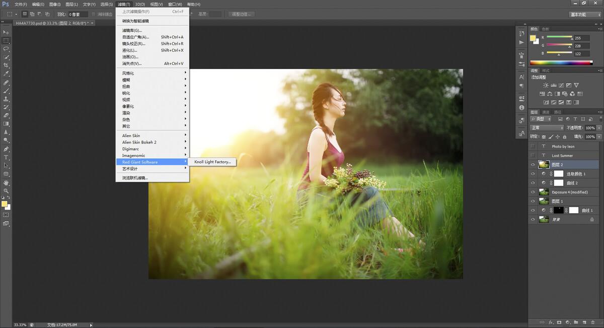 PS6<br /> 因为是阴天拍摄,没有光效片子视觉效果很差,所以选择用Light Factory增加光效;