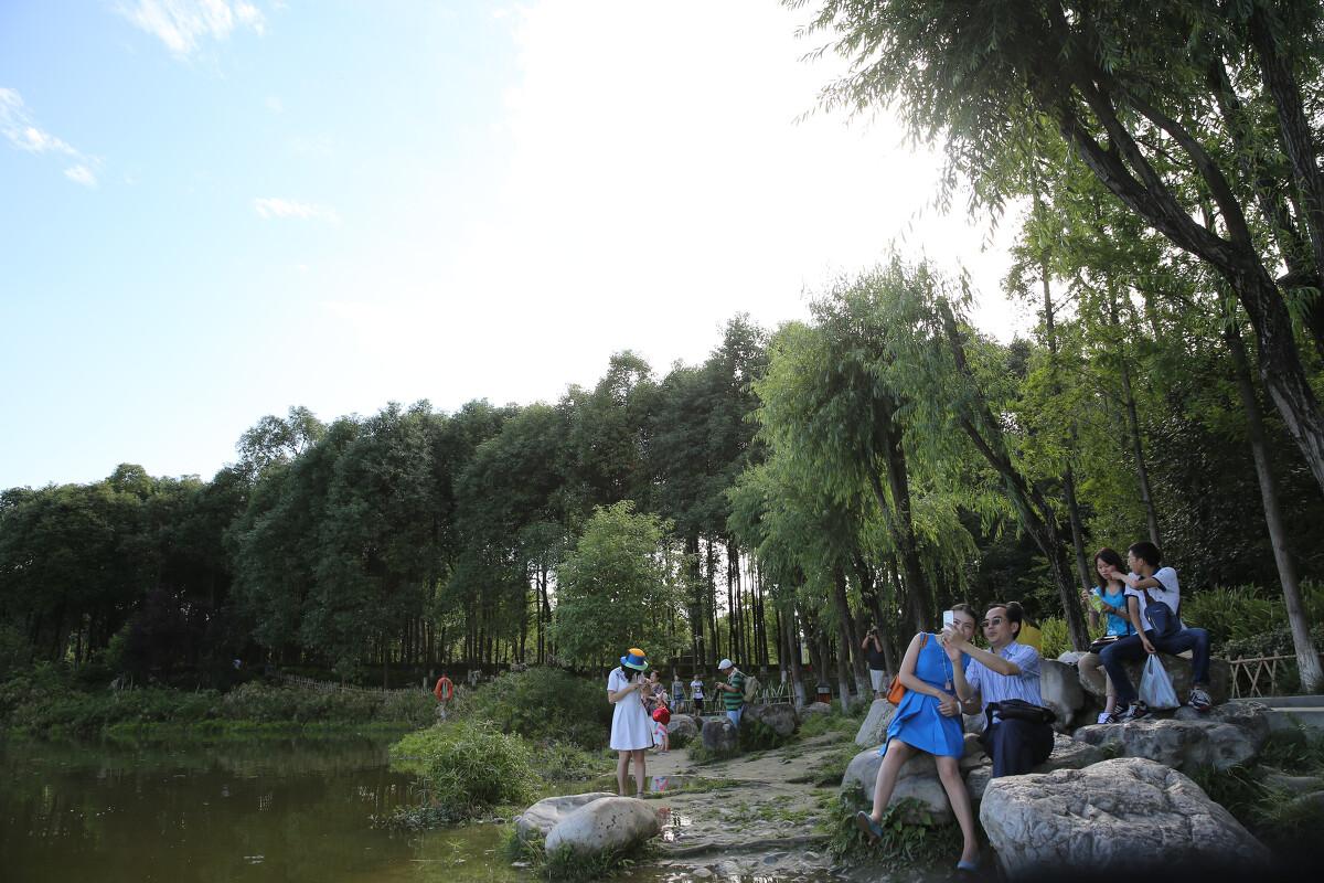 湖边的游人们